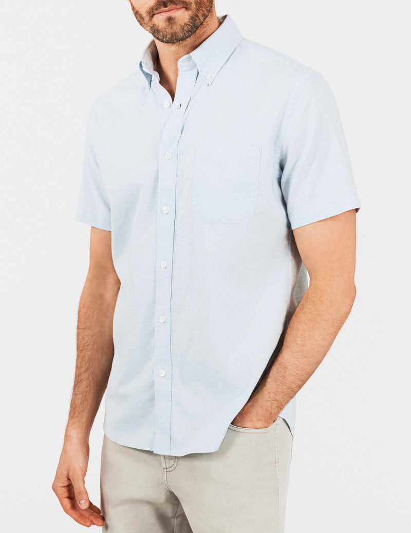 Short-Sleeve Stretch Oxford Shirt - Washed Blue