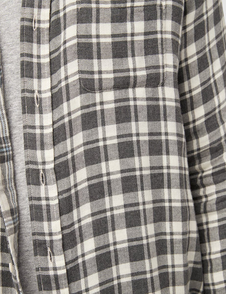 Reversible Belmar Shirt - Cream Charcoal Plaid