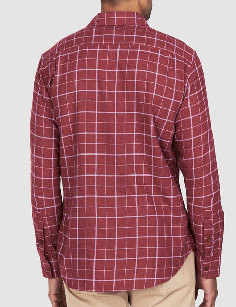 Ventura Shirt - Heather Crimson Windowpane