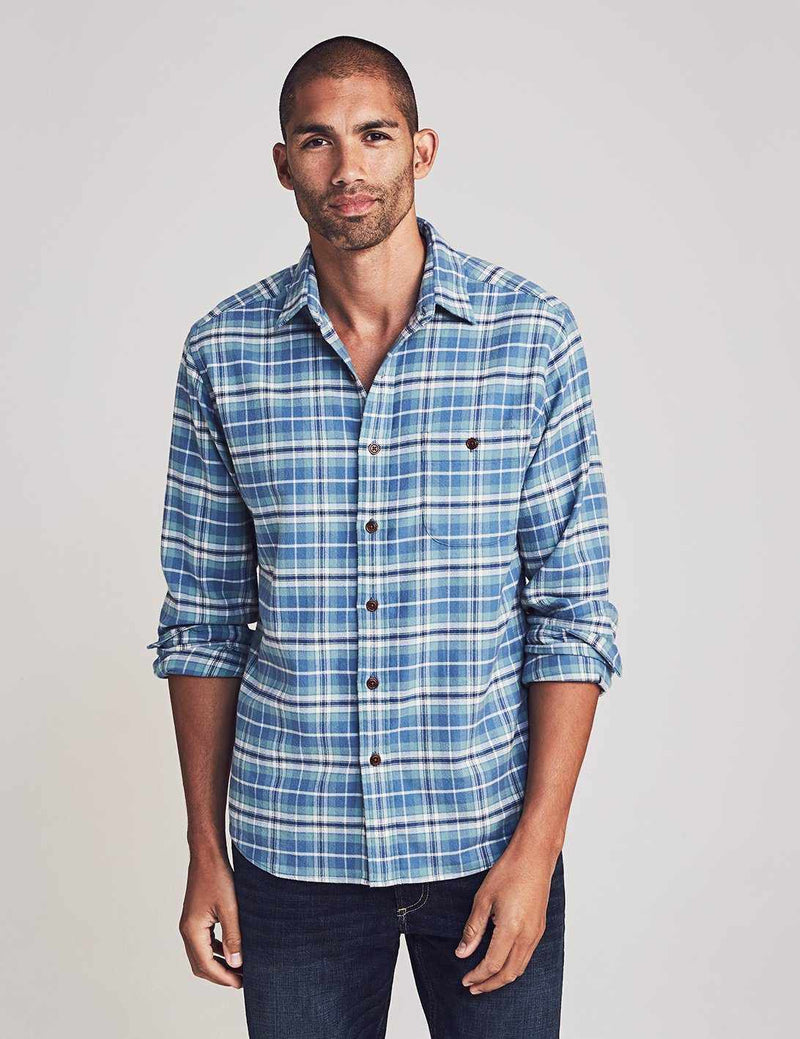 Stretch Seaview Flannel - Dusty Ocean Plaid