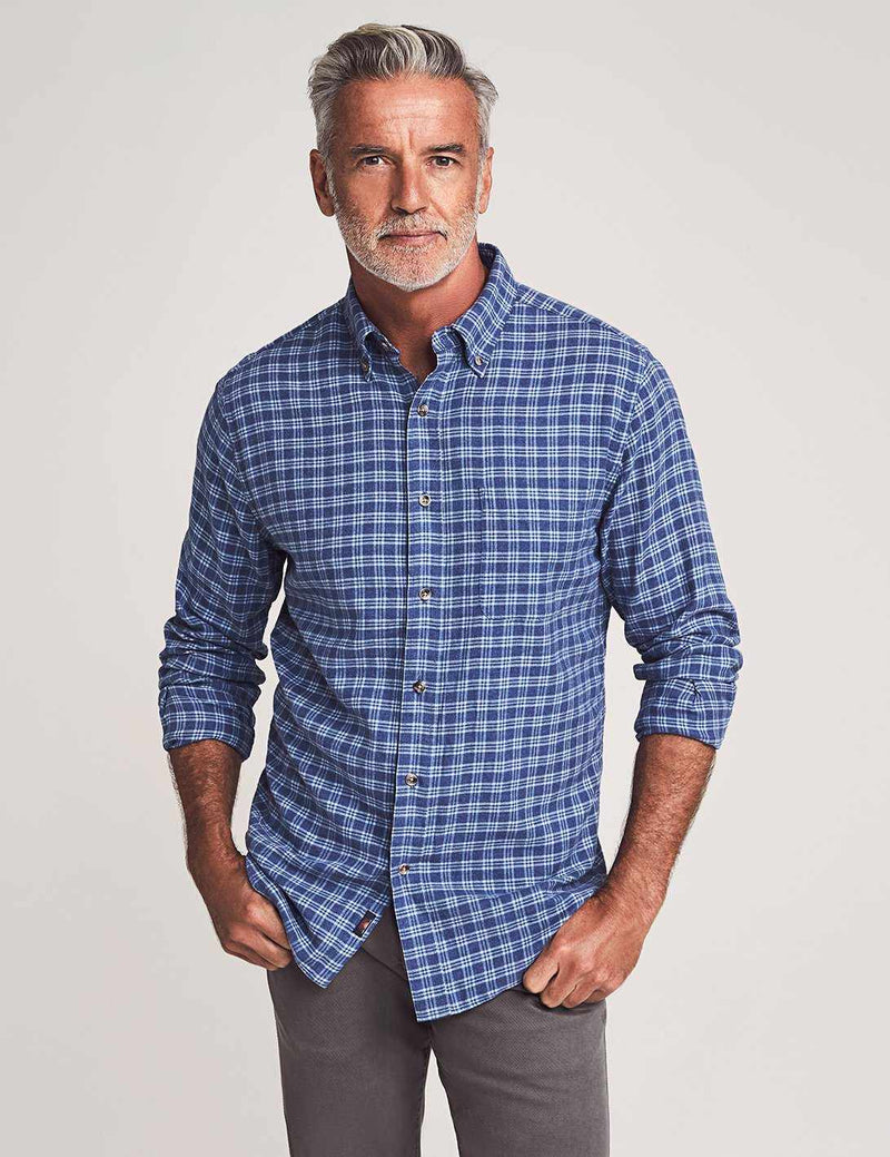 Brushed Everyday Button-Down Shirt - Blue Easy Check