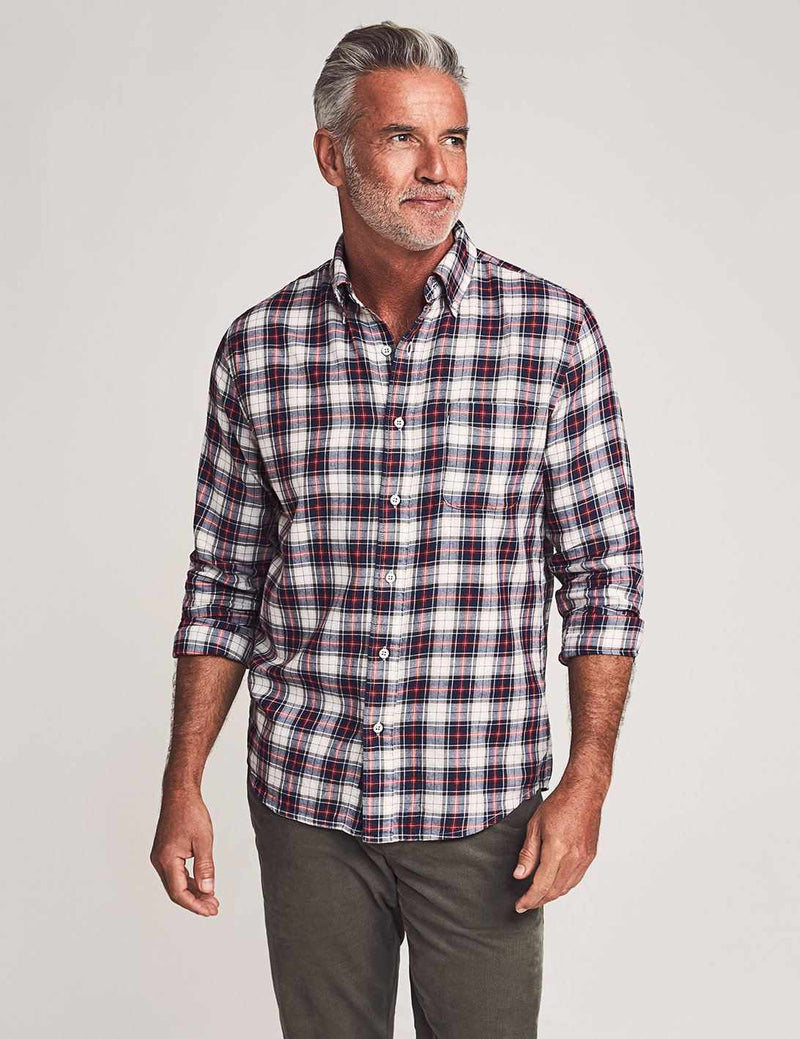 Brushed Everyday Button-Down Shirt - Indigo Heritage Tartan