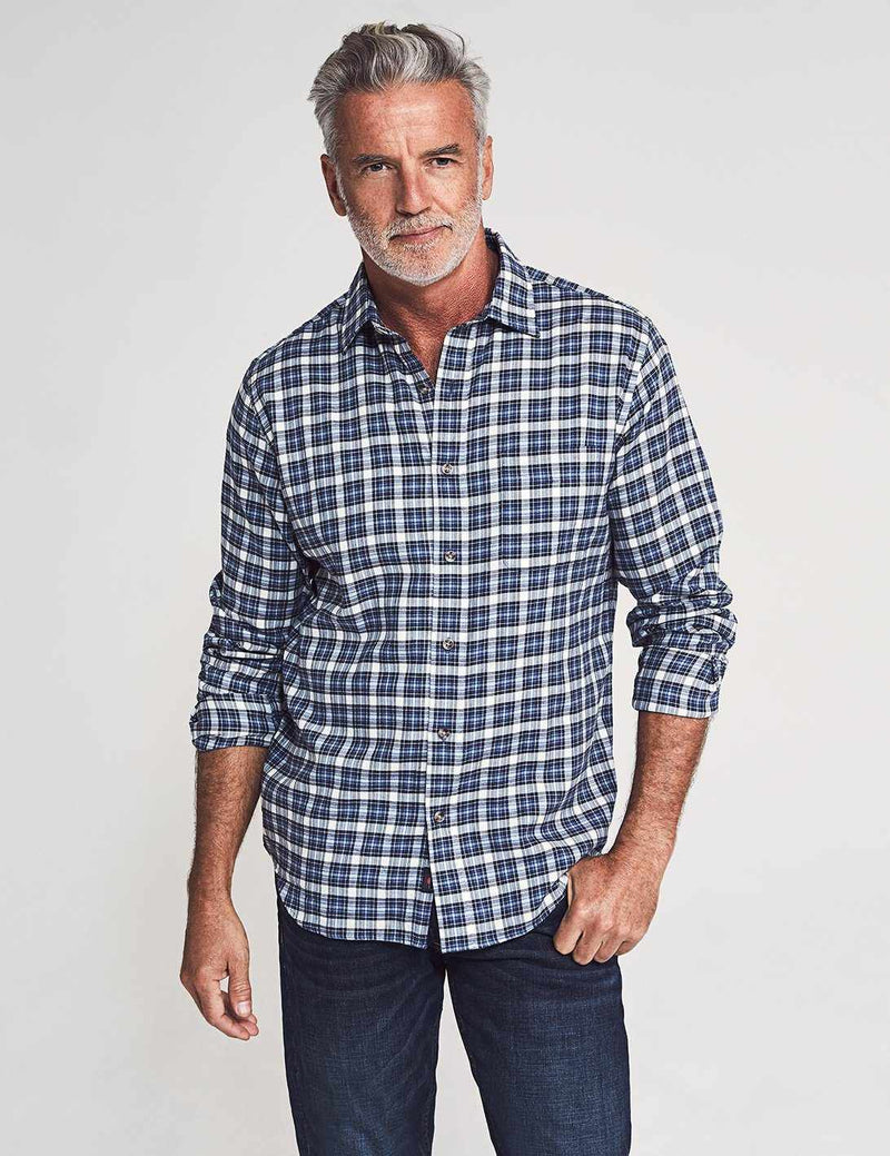 Everyday Shirt - Cream Navy Tartan