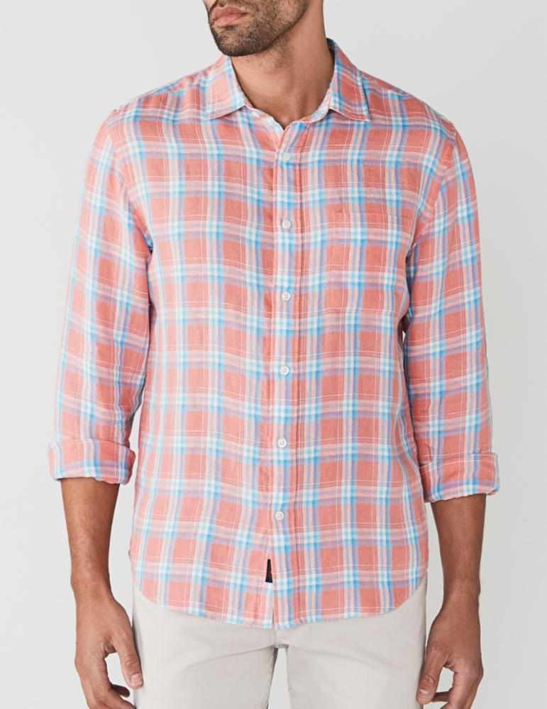 Washed Linen Shirt - New Coral Plaid