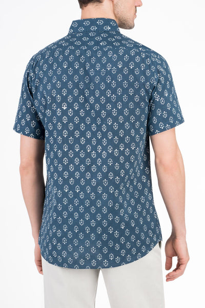 SS Bendback Coast Shirt - Block Leaf Print