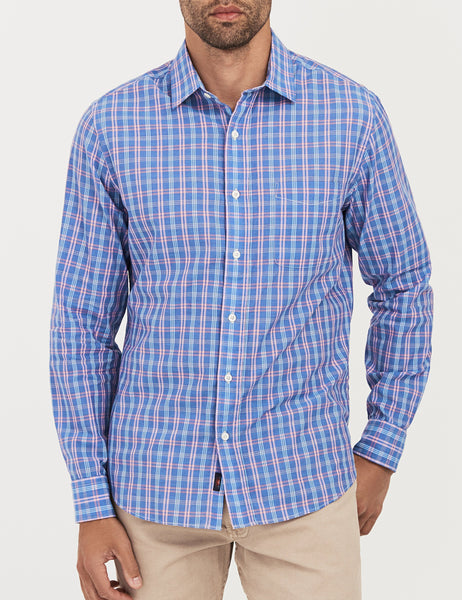 Ventura Shirt- Chambray Blue Multi Plaid