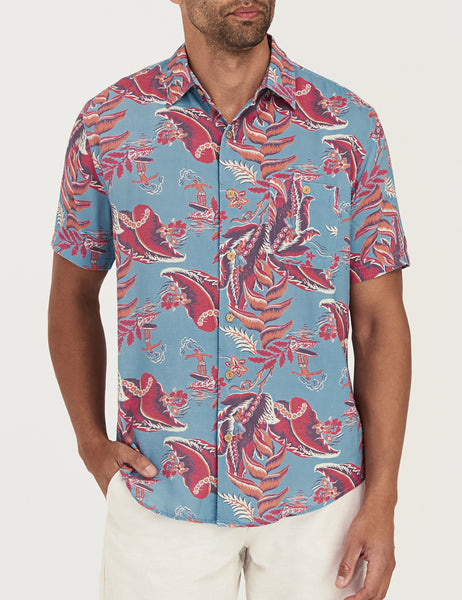 Rayon Hawaiian Shirt - Leaf Hawaiian Print