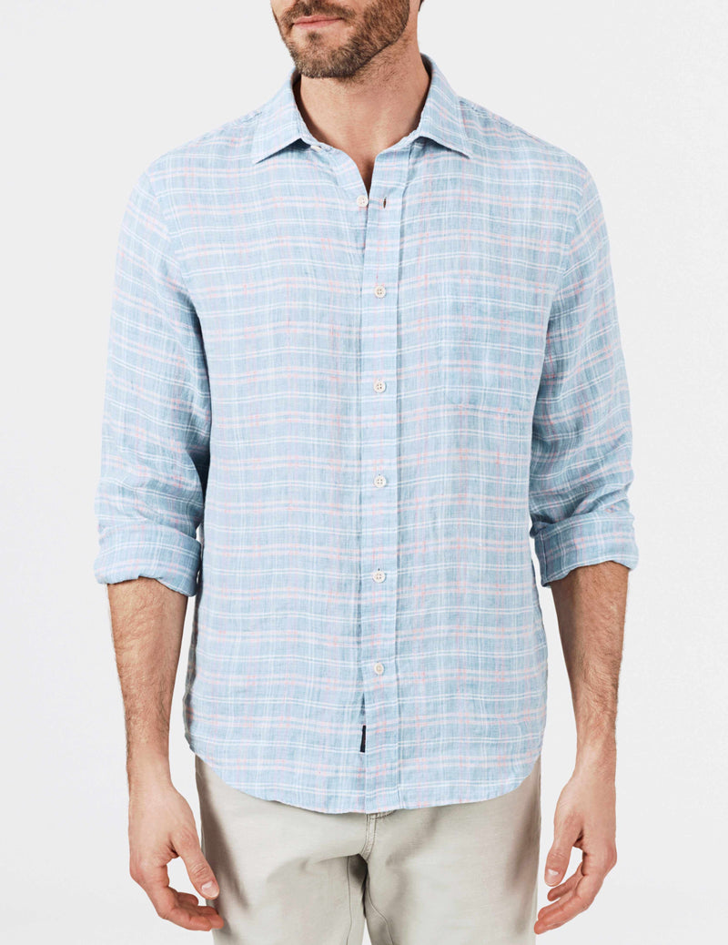 Washed Linen Shirt - Blue Marl