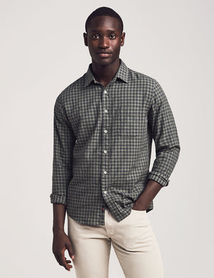 Cloud Cotton Everyday Shirt - Olive Black Gingham