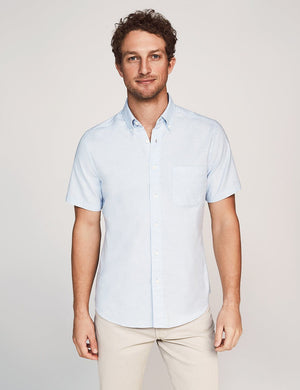 Short-Sleeve Stretch Oxford Shirt - Blue Heather