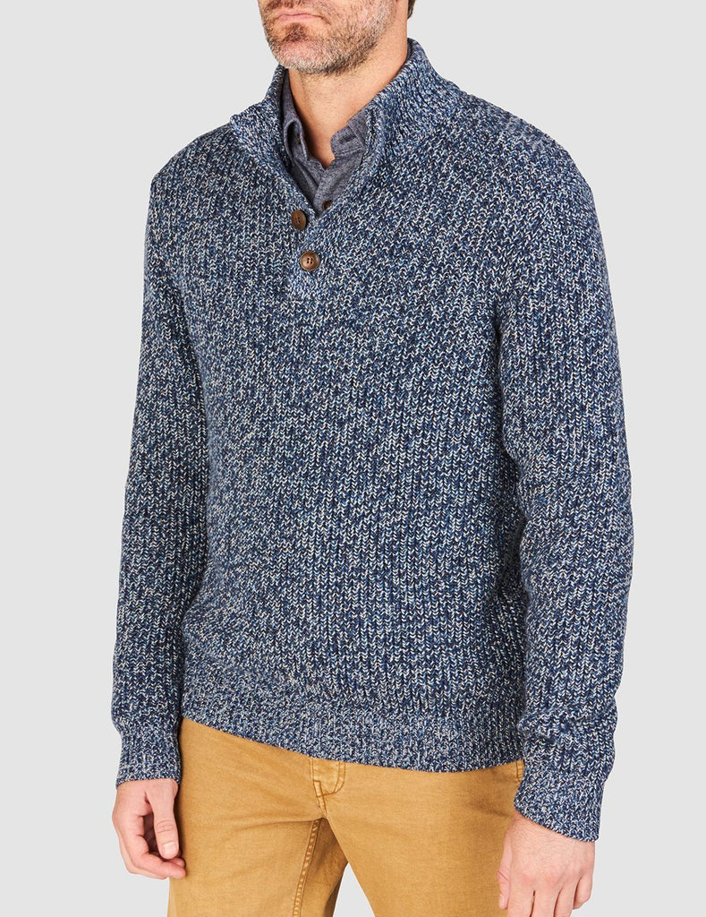 Marled Cotton Pullover - Blue Rag