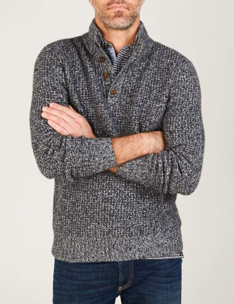 Cashmere 1/4 Button - Charcoal Marl