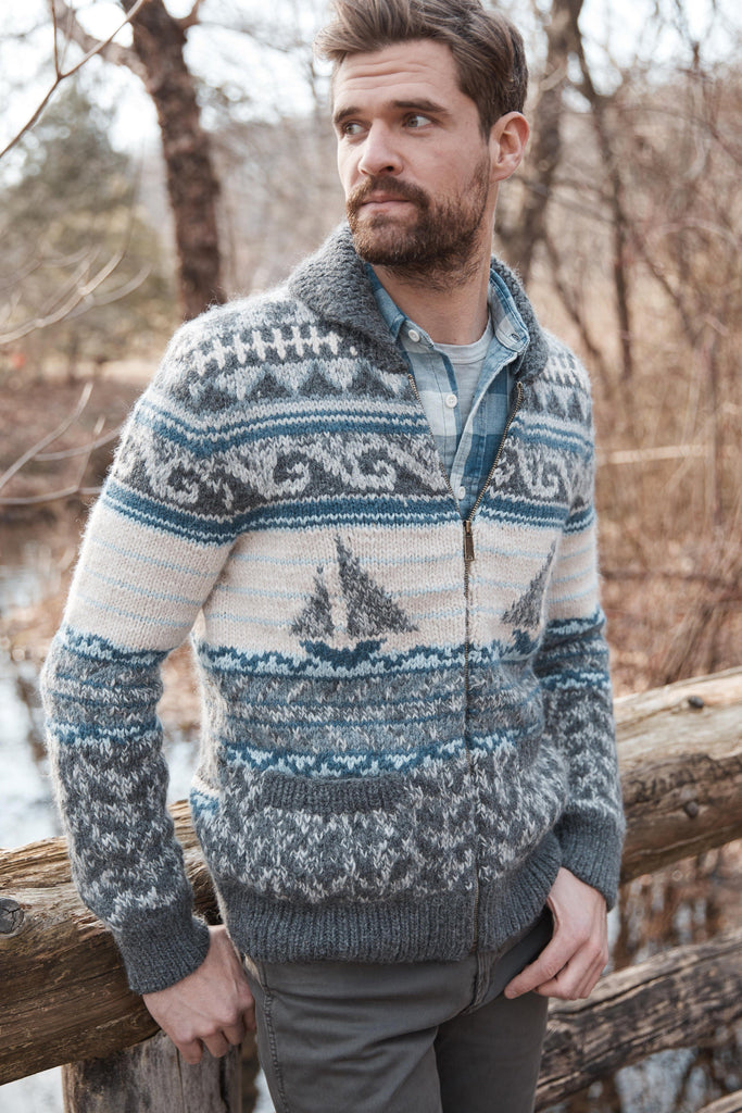 Sailboat Hand Knit Cardigan - Grey Multi
