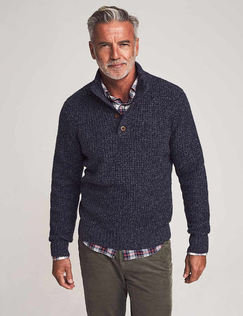 Cashmere 1/4 Button - Deep Navy Marl