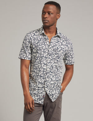 Short-Sleeve Knit Seasons Shirt - Navy Avellanas Print