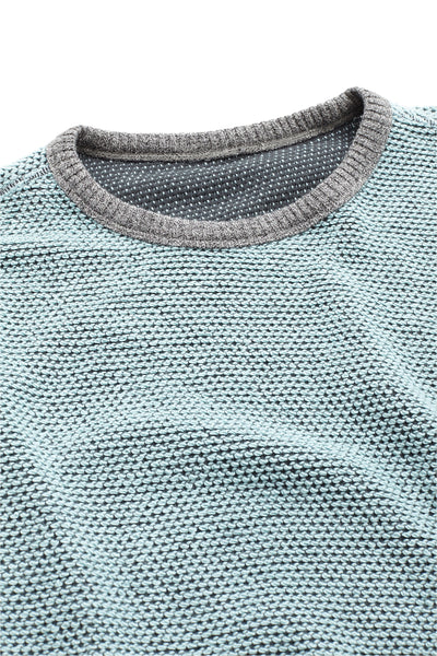 Reversible Terry Crewneck - Light Blue/Charcoal