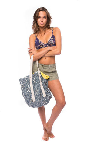 blue and white reversible beach tote