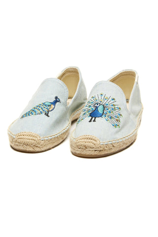 Soludos Peacock Embroidered Smoking Slipper - Blue Chambray