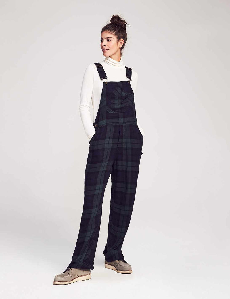 Flannel Mechanic Overalls - Black Watch Plaid