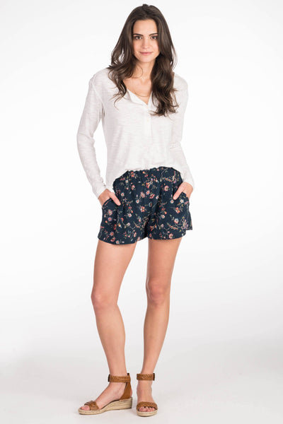 Breezy Silk Short - Navy Traveling Floral