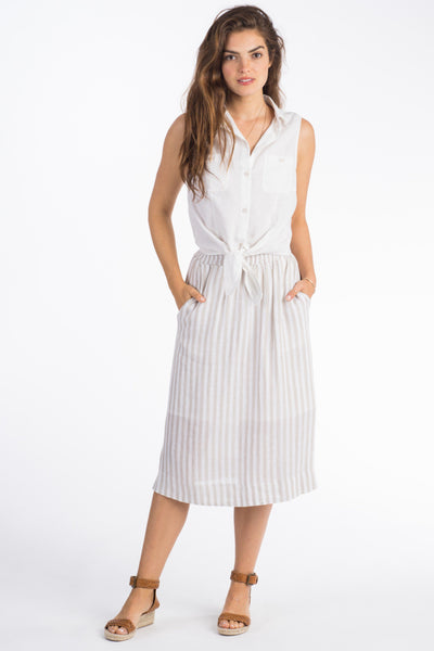 Clover Pull-On Midi Skirt - Stone Stripe