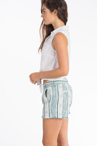 Honolua Short - Teal & Cream Stripe
