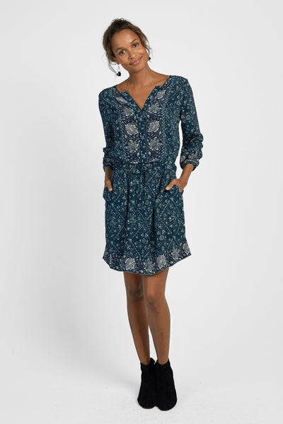 Silk Hannah Dress - Navy Bohemian Vines