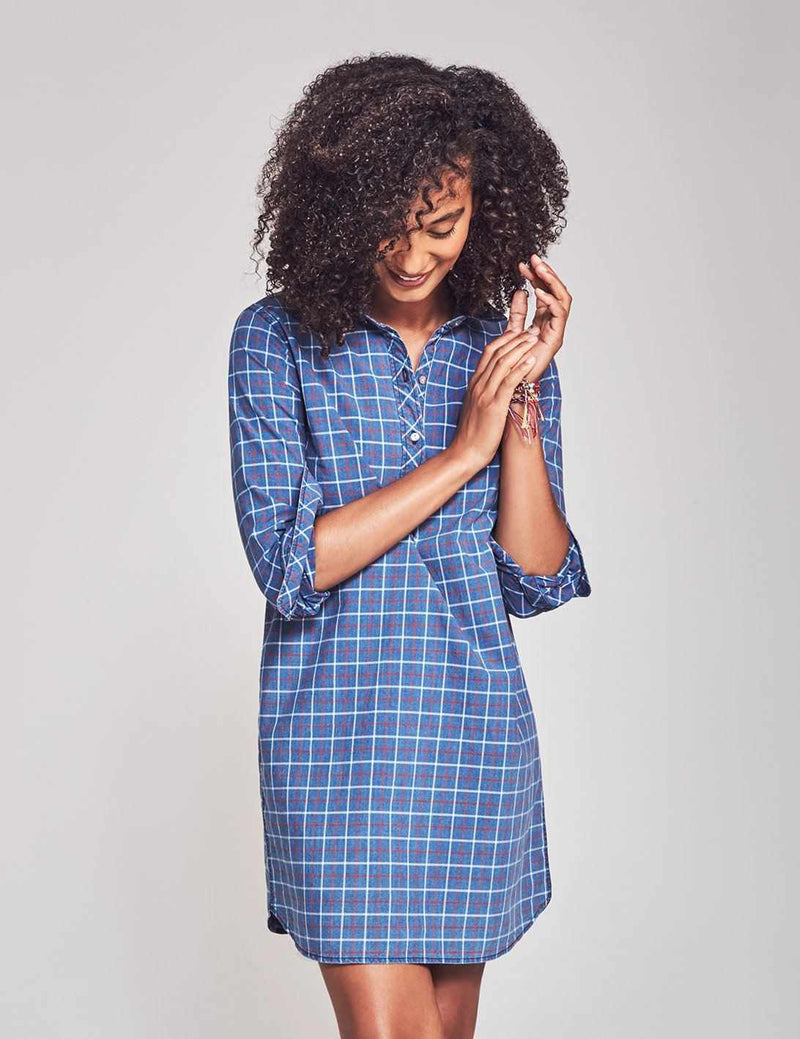 Lighthouse Shirtdress - Indigo Plaid