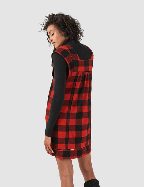 Brenton Dress - Black/Red Buffalo Check