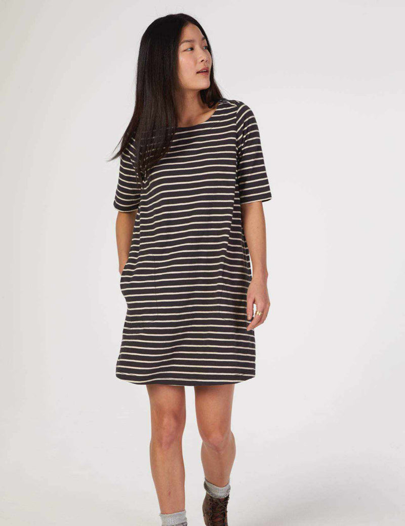 Shaylyn Dress - Coal/Natural Stripe