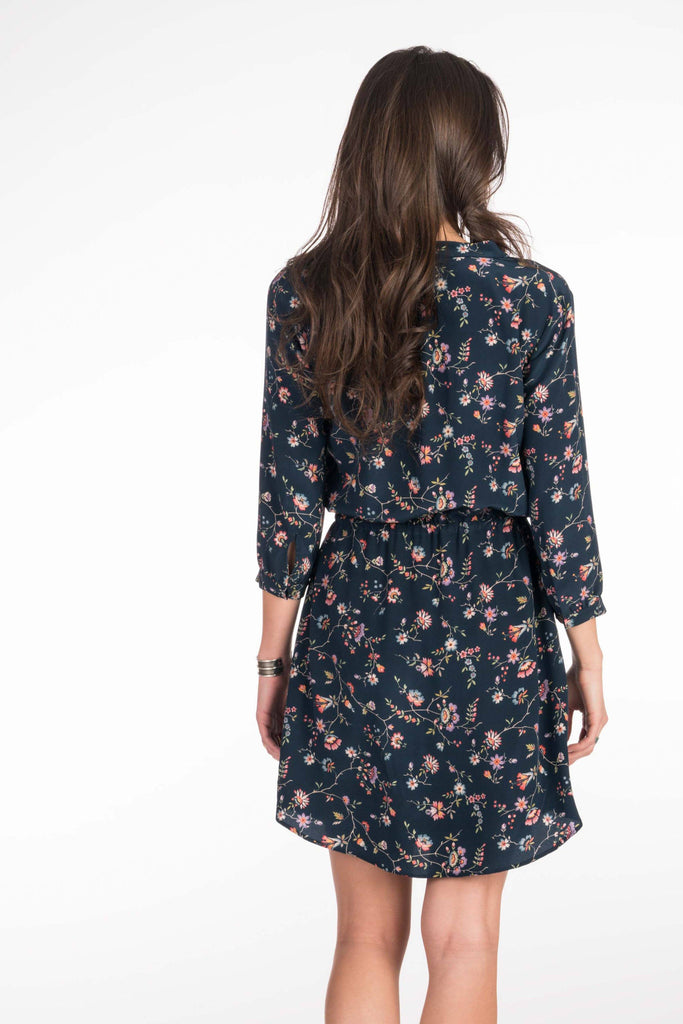 Evelyn Long Sleeve Dress - Navy Traveling Floral