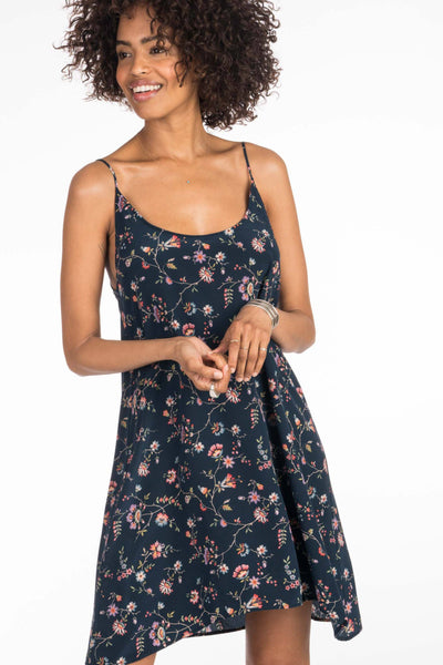 Nora Dress - Navy Traveling Floral