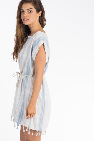 Solana Coverup Dress  - Tidepool Stripe