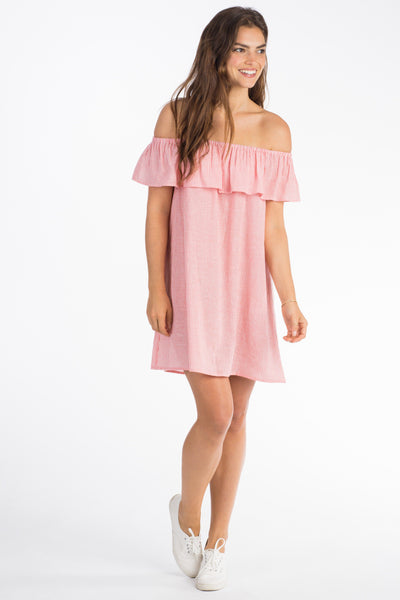 Saylor Dress - Coral Pinstripe