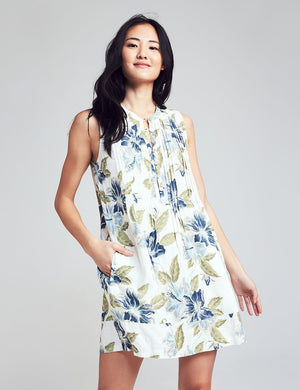 Isha Floral Washed Linen Dress - Blue Kololi Floral
