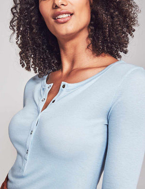 Luxe Rib Natural Dyed Henley - Blue
