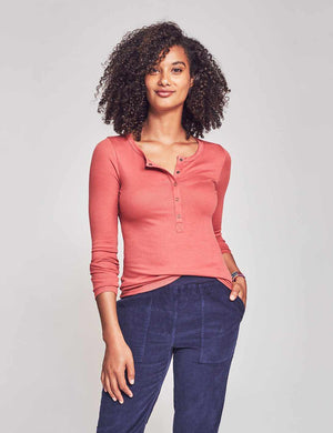 Luxe Rib Natural Dyed Henley - Rosie