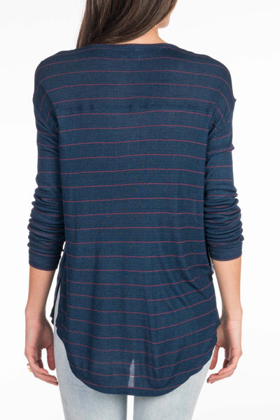 Devon Henley - Dark Wash Indigo Stripe