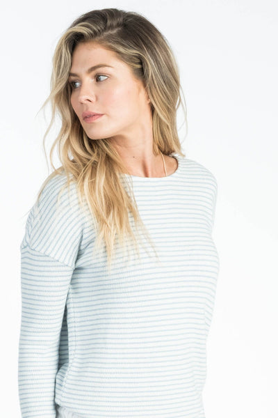 San-O Boatneck Top - Pacific Blue Stripe