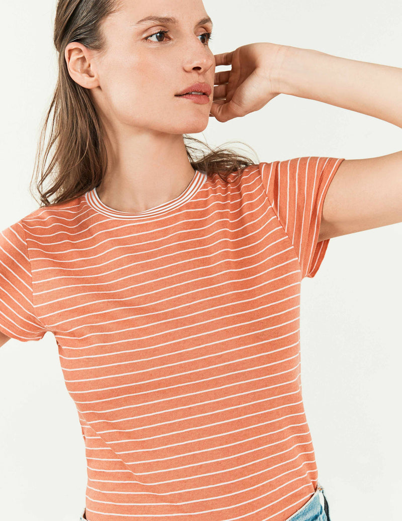 Didion Tee - Coral/White