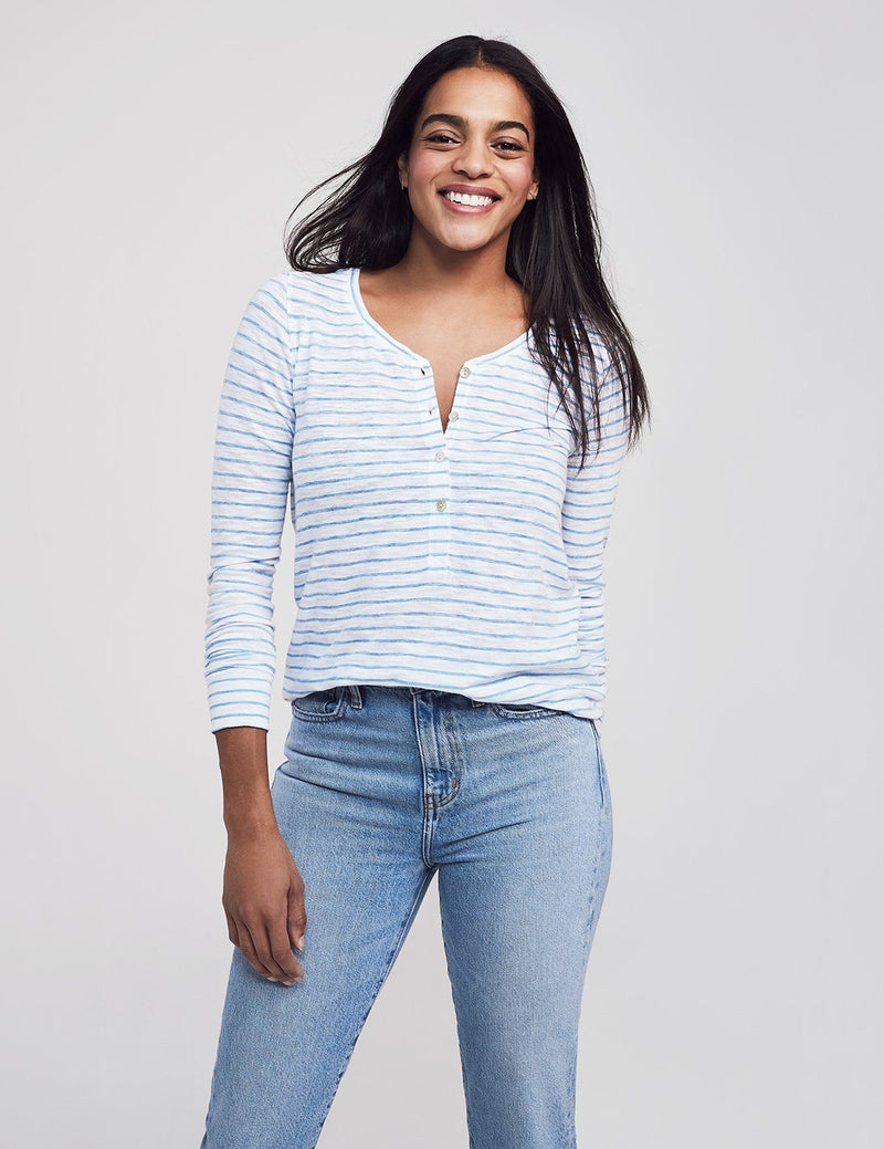 Striped Slub Cotton Henley - White Azure Stripe