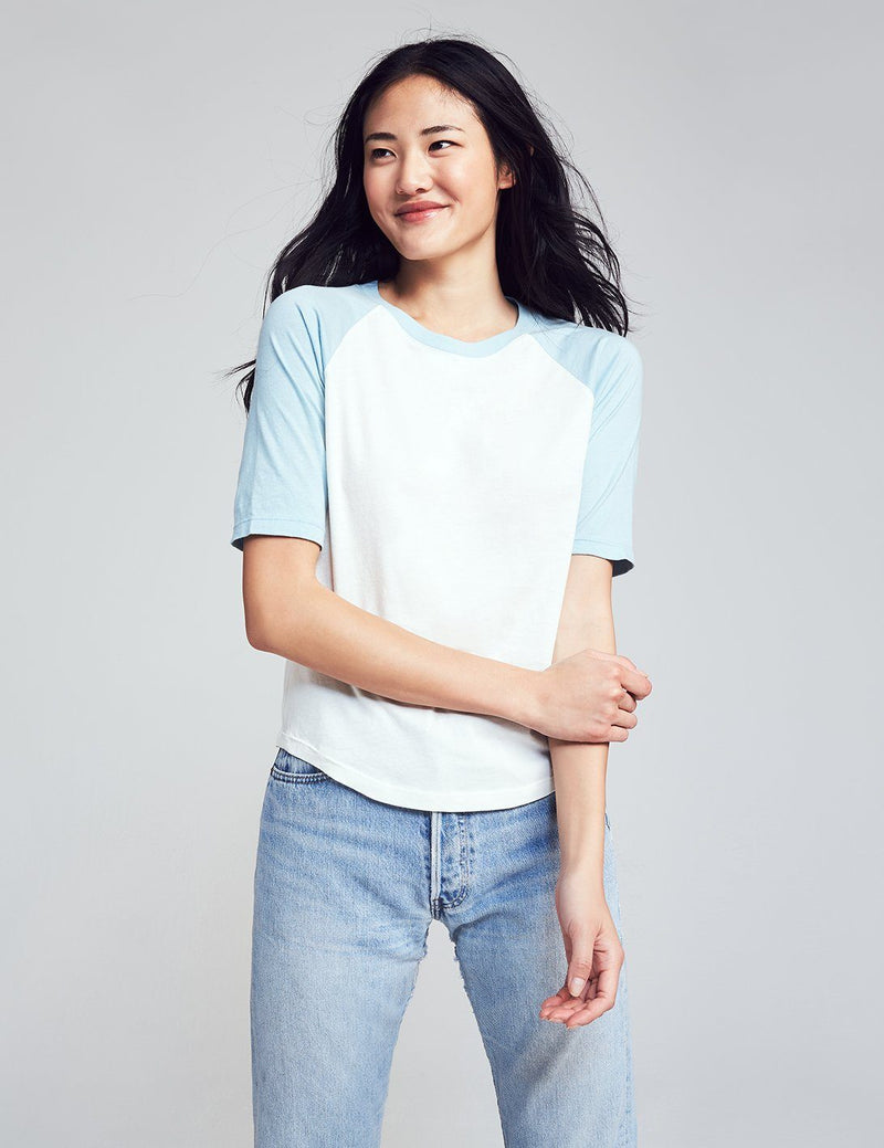 Colorblock Pima Cotton Tee - Forget Me Not/Egret