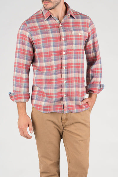 red, cream and blue plaid flannel shirt