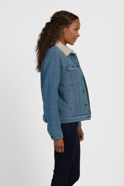 Oversized Sherpa Lined Station Jacket - Indigo Light Wash