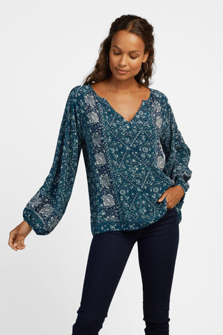 Abby Top - Navy Bohemian Vines