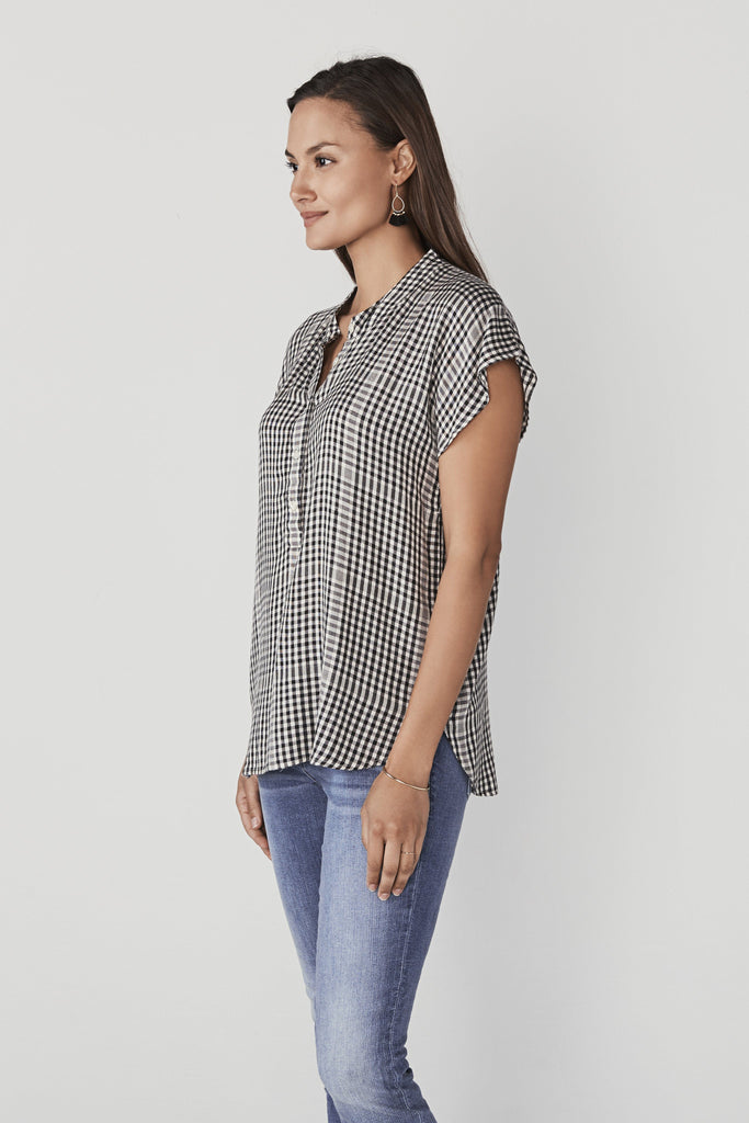 Remi Top - Washed Black Gingham