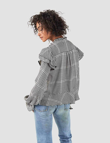 Sandia Blouse - Ivory/Black Gingham
