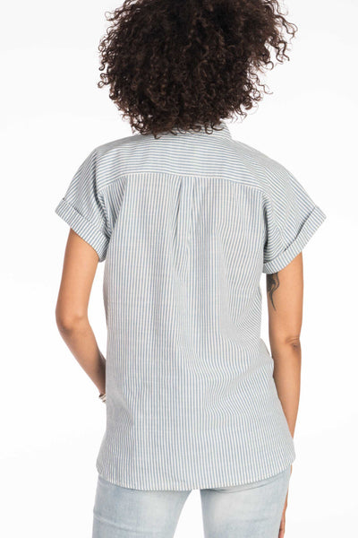 Westerly Top - Indigo Railroad Stripe