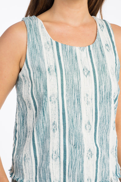 Waimea Tank - Teal & Cream Stripe