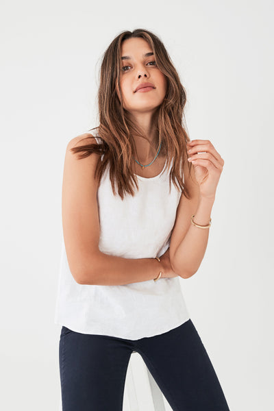 Linen Lakey Top - White
